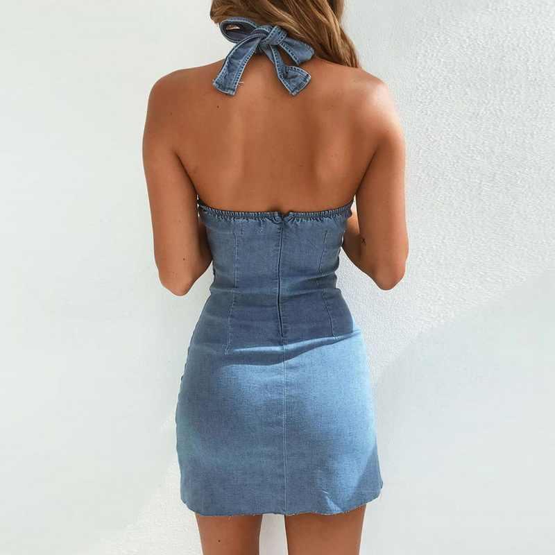 Laamei nouveau été femmes robe Vintage bouton Denim robes moulantes jeans décontractés dos nu courte Mini robe dos nu vêtements