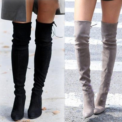 f73f94927a2 100% leather women knee high thigh high boots winter fashion woman over the knee  boots