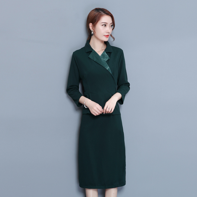 22450ef72a8fb 2018 autumn winter clothes for women dress plus size large elegant noble  solid zipper work a line office dresses long sleeve