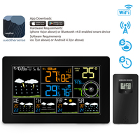 EU Plug Color Indoor/Outdoor Wi Fi Weather Forecast Wind Speed Direction Smart Weather Station Clock
