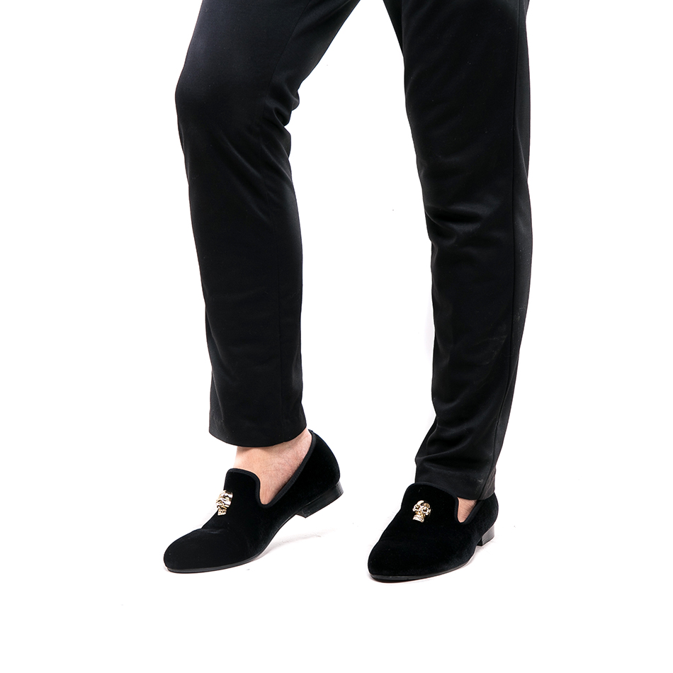 Chaussures Crâne Britannique Black Mode Hommes Bal Mâle Nouvelle MétalDe Style Avec Le Piergitar Main En Banquet Mocassins or Velours Et Appartements 5A3RqjL4
