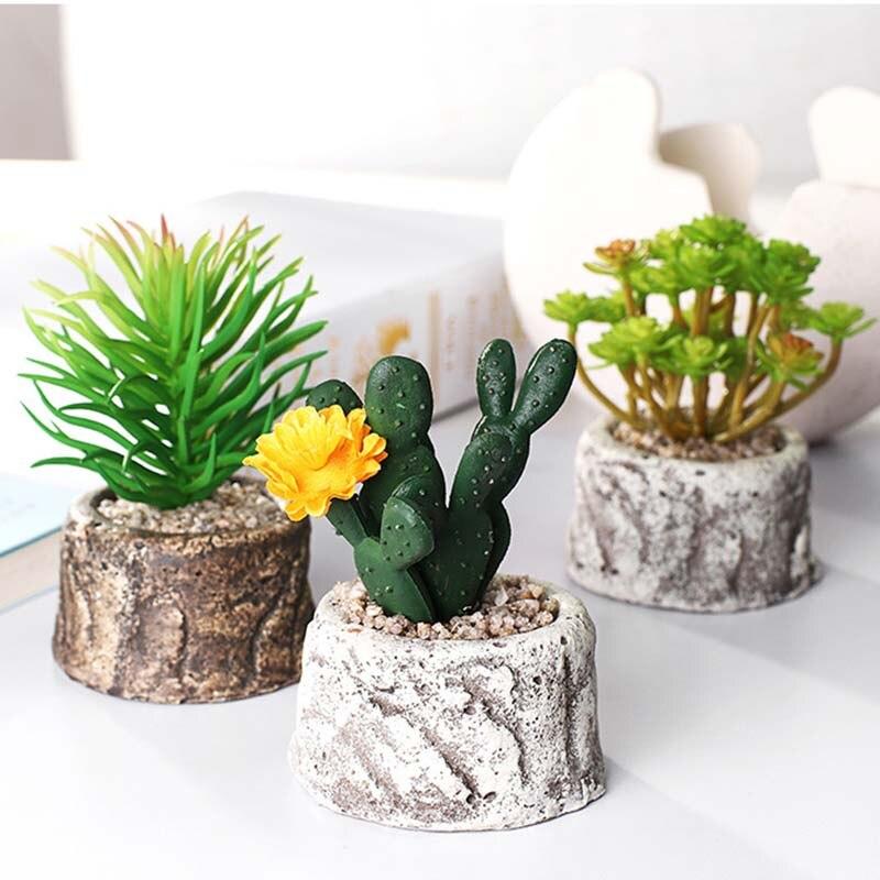 Set of 6 Artificial Plants Cactus Mini Stone Landscape Succulents Grass