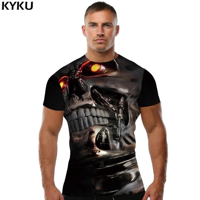 KYKU גולגולת T חולצות מצחיקות חולצת טי גברים שחור שלד מגניב 3d הדפסת חולצת טריקו Mens מגניב בגדי 2018 חדש קיץ העליון היפ הופ