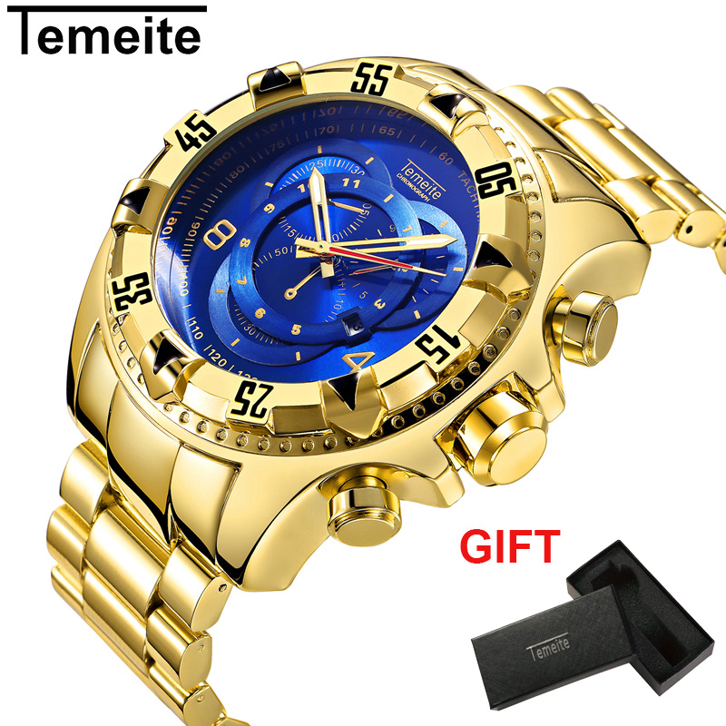 Temeite Luxury Gold Men's Watches Big Dial Quartz Watch Man Business Wristwatch Steel Waterproof Relogio Masculino Dropshipping