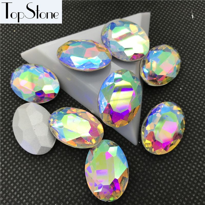 sewing for Button Oval Shape Acrylic Stone Flatback plastic stone 13x18m 60pcs