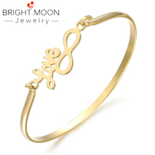 Bright Moon Eight Shape Stainless Steel Bracelets Gold Silver Love Cuff Bangles for Female Personalized Jewelry