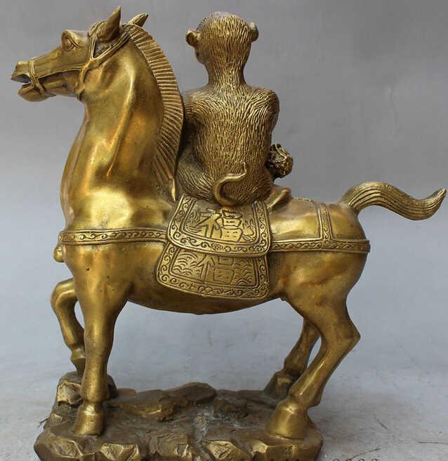 "WBY JP S0610 10 ""Folk Brass Cinese FengShui Scimmia Tenere Lion Seal Giro Statua Cavallo Animali"