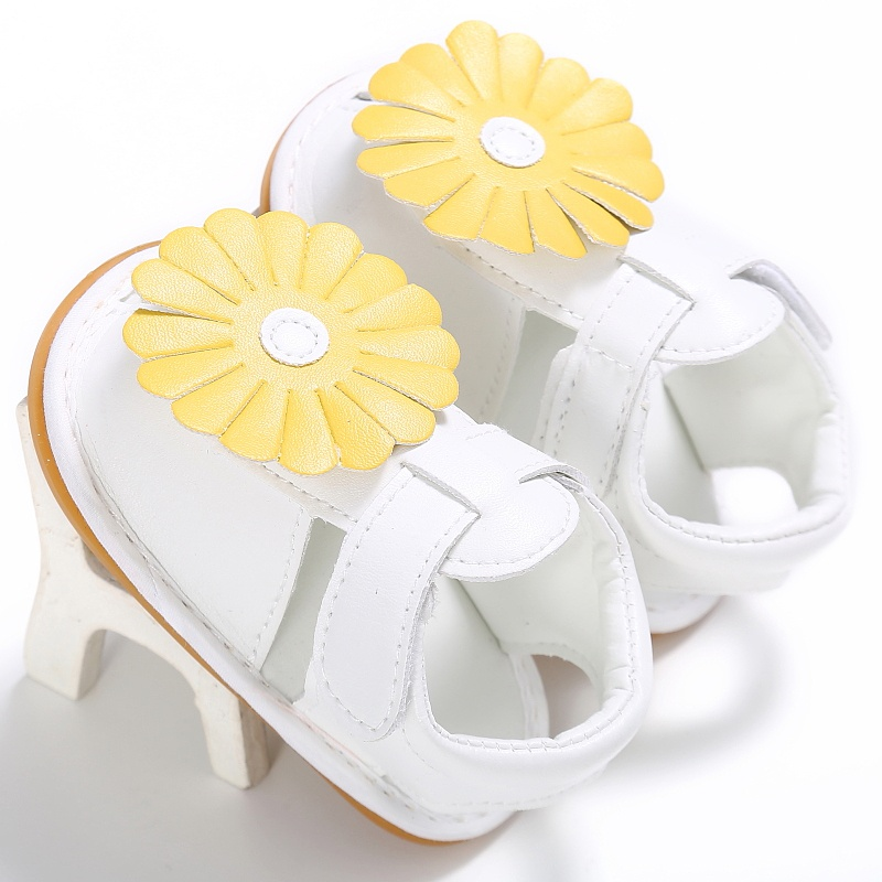 High Quality Baby Summer White Flower Shoes Infant Girls Soft Sole Princess Shoes Prewalker A