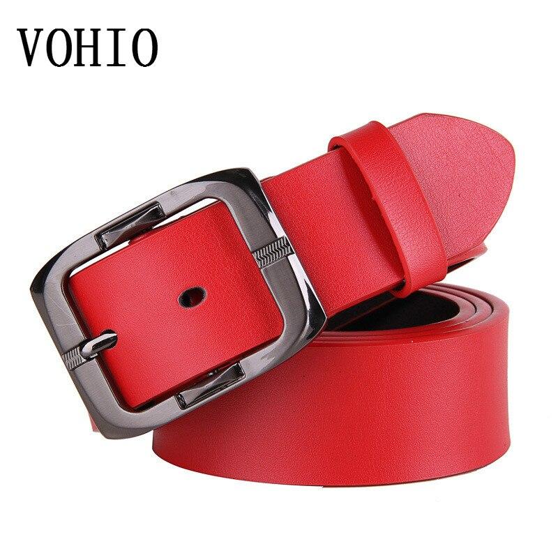 VOHIO male pin buckle belts Women leather belt on the second floor Men joker red leather belts