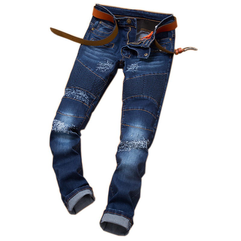Brand hot style streets ripped jeans male waist elastic foot locomotive of cultivate one's morality jeans!Free postage!!!!! F33 hot velvet elastic waist men jeans male