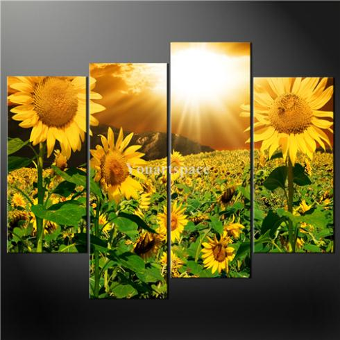 4 Piece Wall Art Painting Print Canvas Picture Yellow Sunflowers Sunrays Cascade Pictures Home Modern Decoration Oil - Youartspace store