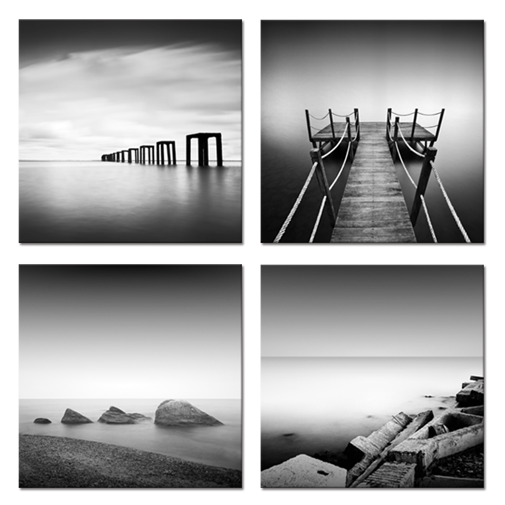 Visual Art Decor Black and White Sea Canvas Wall Art