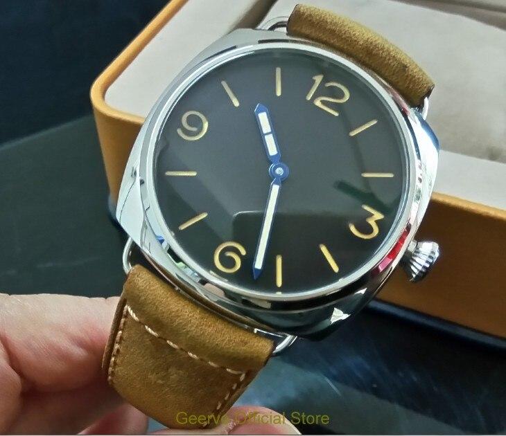 Saatler'ten Mekanik Saatler'de 47mm GEERVO siyah kadran Asya 6497 17 jewels Mekanik El Rüzgar hareketi erkek saati aydınlık mekanik saatler 0141A'da  Grup 1