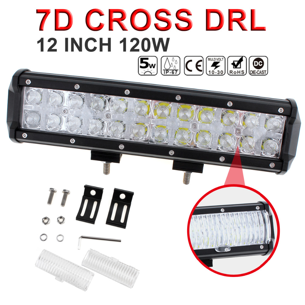 7D Cross DRL 12 Inch 120W LED Car Work Light Bar Spot Flood Beam Combo Off road Driving Lamp for Auto Offroad SUV Truck ATV mz 22 120w 9600lm 30┬░ spot led work light bar off road suv atv fog lamp white yellow light 10 30v