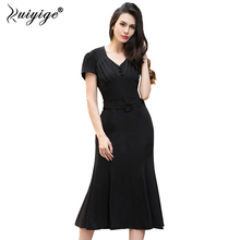Ruiyige Trumpet V Neck Short Sleeve Mermaid Dress Solid Work Office Business Lady Summer Bodycon Fitted