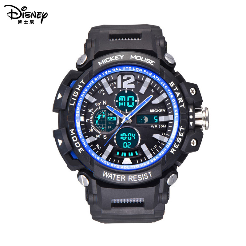 Disney Wristwatch Boy Digital Mickey Water-Resistant Sport Luminous Multi-Function Dual-Display