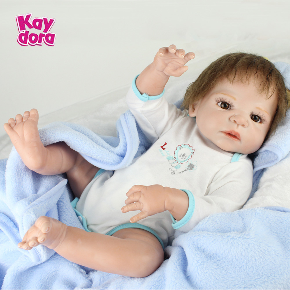 22 inch 55cm Full Silicone Reborn Baby Dolls Alive Lifelike Real Dolls Realistic Kids Reborn Babies Toys Birthday Christmas Gift