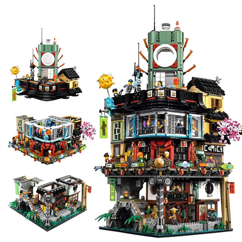 IN STOCK 4953pcs lol Compatible with playmobil 70620 diy Ninjagoes City Masters of Spinjitzu Building Blocks Toys for children