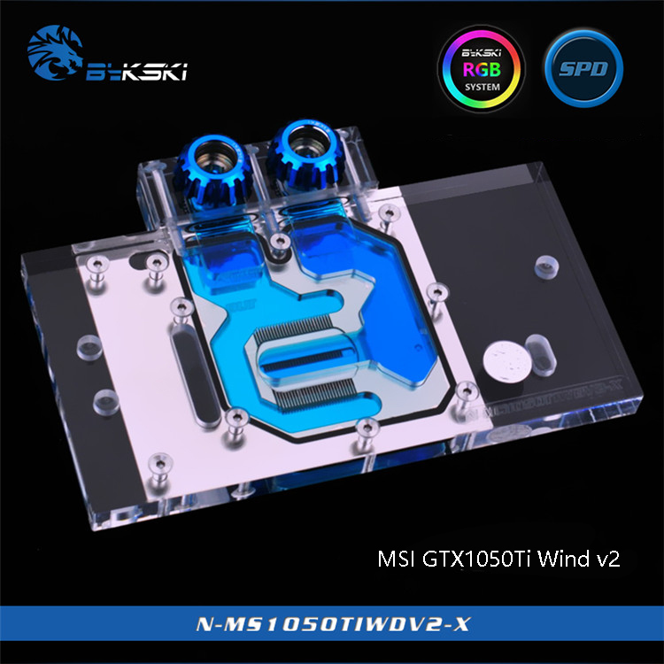 Bykski N-MS1050TIWDV2-X Full Cover Graphics Card Water Cooling Block for MSI GTX1050Ti Wind v2 цена 2017