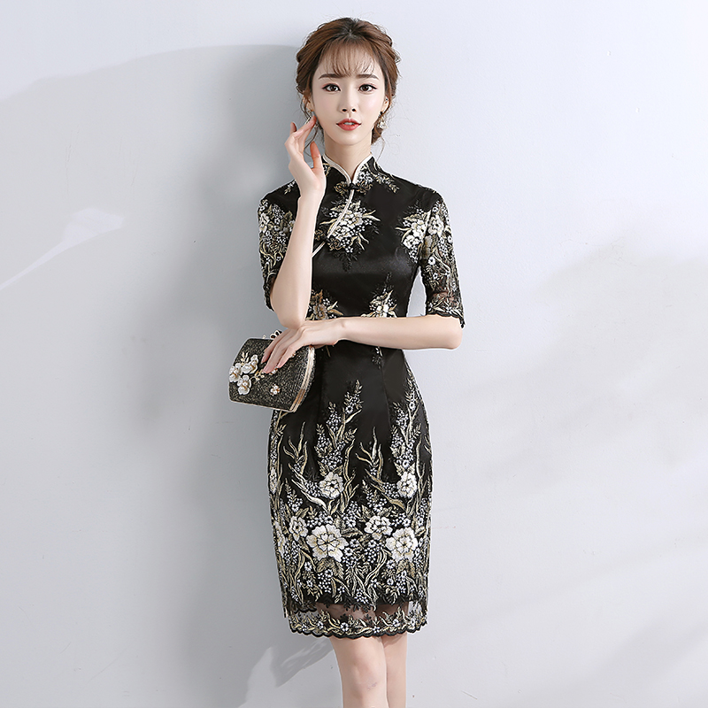 da47c09ca 2018 summer qipao red lace cheongsam modern chinese traditional wedding  dress women vestido oriental collars sexy