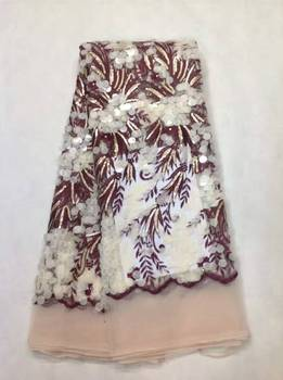 Hot French Nigerian sequins net lace,African tulle mesh lace fabric high quality for party wedding dress 5yards/lot KL10772