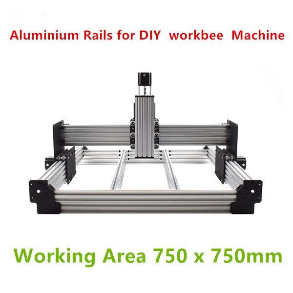 Funssor 1set Aluminium Rails  For DIY  Workbee  Machine Working Area 750 X 750mm