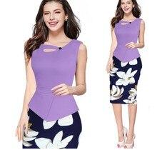 Hot sale Autumn Print Floral Patchwork Button Casual Dress Business Three Quarter Zip Back Bodycon Summer Office Dress