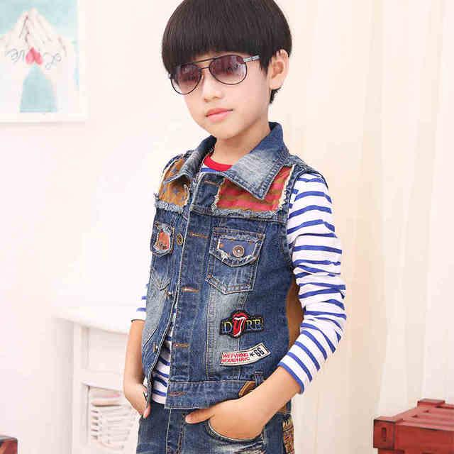 32af10a4e baby boys denim vest kids sleeveless Jeans coats Fashion Boys Denim ...