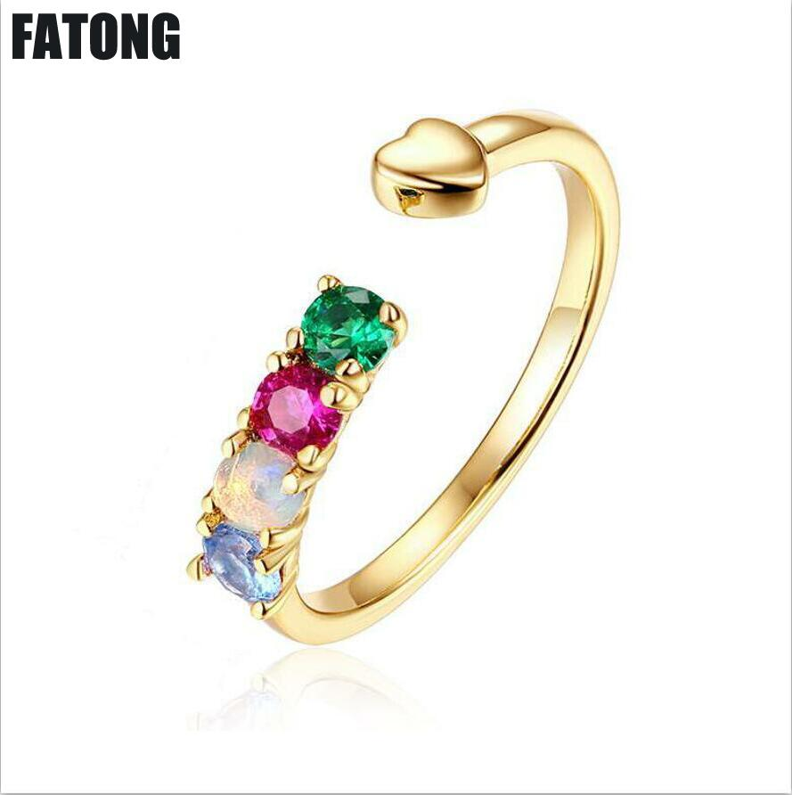 925 sterling silver natural opal stone ring women's inlaid red and blue spinel ring J0109 sweet faux opal inlaid kitten shape ring for women