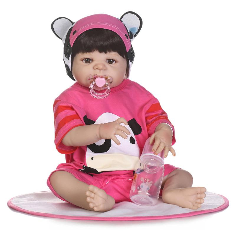 Three types 22 Inch Doll Reborn Full silicone Babies Doll For Girls 55CM Realistic Soft Alive Reborn Baby Doll For Kids Playmate new sale 22 inch 55cm full silicone reborn doll with tiger yellow clothes playmate silicone toddler reborn babies girl dolls