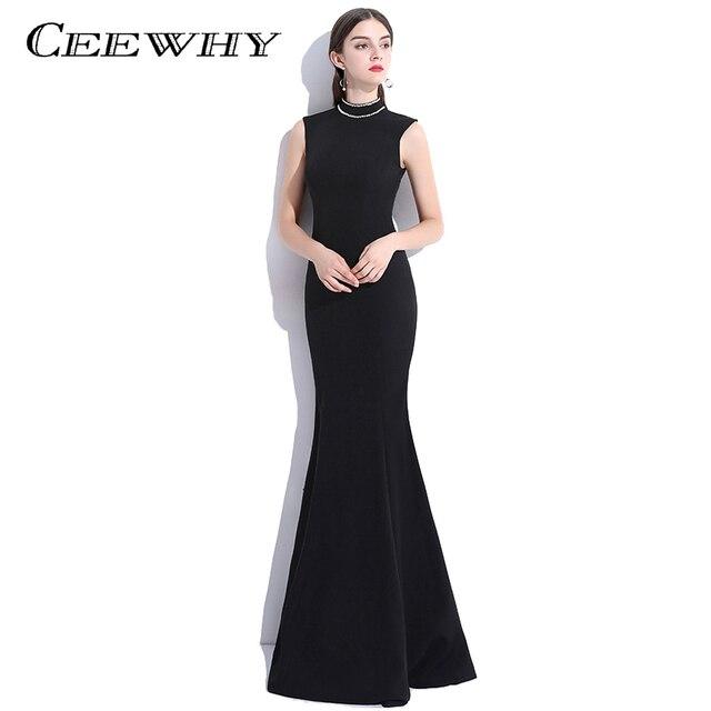 4c53f58ed88 CEEWHY Robe de soirée sirène col haut robes de soirée noires élégantes robes  de bal perlées