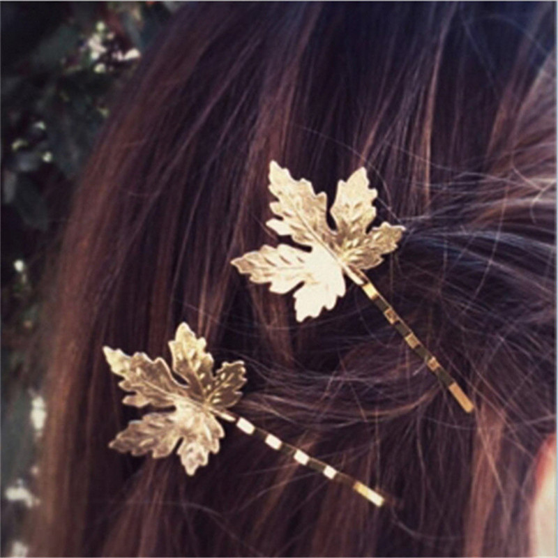 Silver Hair Clips For Women Bobby Pins 2PCS Simple Design Metal Leaf Hairpins