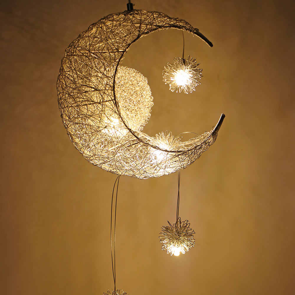 Modern Pendant Ceiling Lamps Moon Star Chandelier Children Bedroom