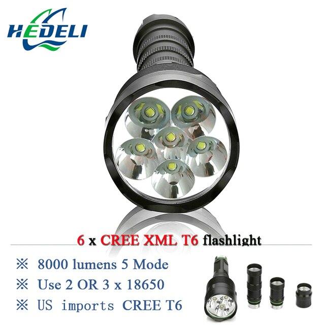 5000 люмен 10000 люмен Мощный Фонарик Съемный led фонарик факел 6x CREE XML T6 3 х 18650 Аккумуляторная Батарея Портативный