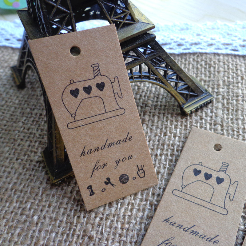 600pcs Sewing Machine design Hand Made Kraft Gift Tag Hang tag DIY Paper Party Cards