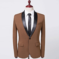 Brown Business Men Suits for Prom Party Stage Black Shawl Lapel Custom Made Wedding Groom Tuxedos Two Piece Men Set Jacket Pants