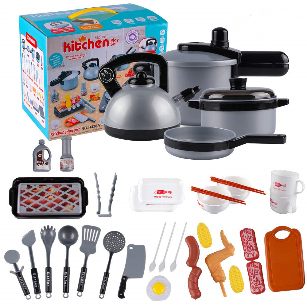 35 Piece Kids Kitchen Pretend Play Toys Kitchen Cooking Playset,Pots And Pans Cookware Cutting Vegetable Play Food Toy