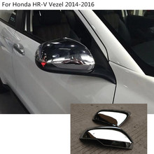 car styling back rear view Rearview Side Door Mirror Cover stick trim frame 2pcs For Honda HRV HR-V Vezel 2014 2015 2016