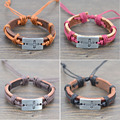Jiayiqi 12PCS Mix Color Cross Pendant Hemp Alloy Genuine Leather Jewelry Bracelet Men Women Bracelet 4 colors
