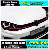 AUTO PRO For Vw Golf 7 Headlights DRL Double U Angel Eyes Bi Xenon Double Lens