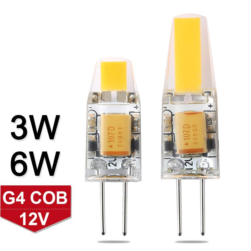 G4 LED Lamp Mini Dimmable 12V DC/AC 3W 6W LED G4 Bulb Chandelier Light Super Bright G4 COB SMD LED Lighting Lights Replace Halo