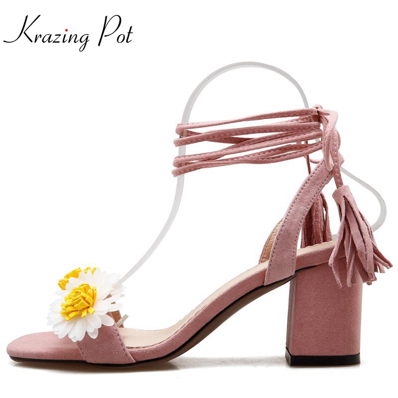 Krazing Pot square heel peep toe flowers decoration colors solid shoes ankle lace up fashion novelty style women sandals Lhf8