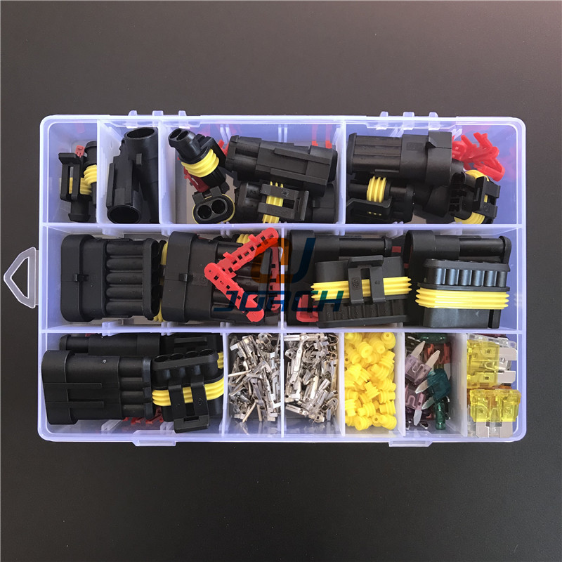 242 Pcs Superseal AMP Tyco Waterproof 12V Electrical Wire Connector Sets Kits With Crimp Terminal And Car Fuse Small Medium Size