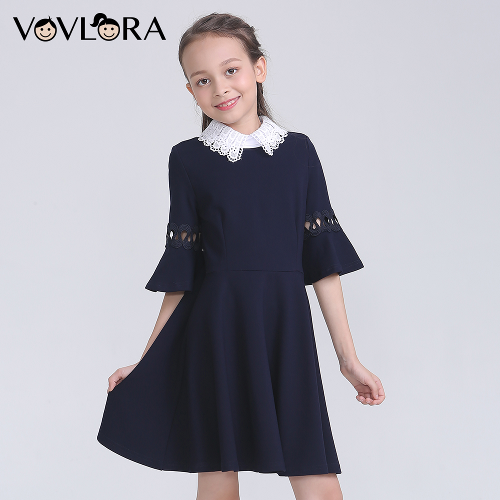 Formal School Girls Dresses 2018 Detachable Collar Lace Half Sleeve Girls Clothes Autumn School Uniform Size 7 8 9 10 11 12 Year girls school blazer v neck formal double breasted kids jacket long sleeve slim solid suit summer 2018 size 9 10 11 12 13 14 year