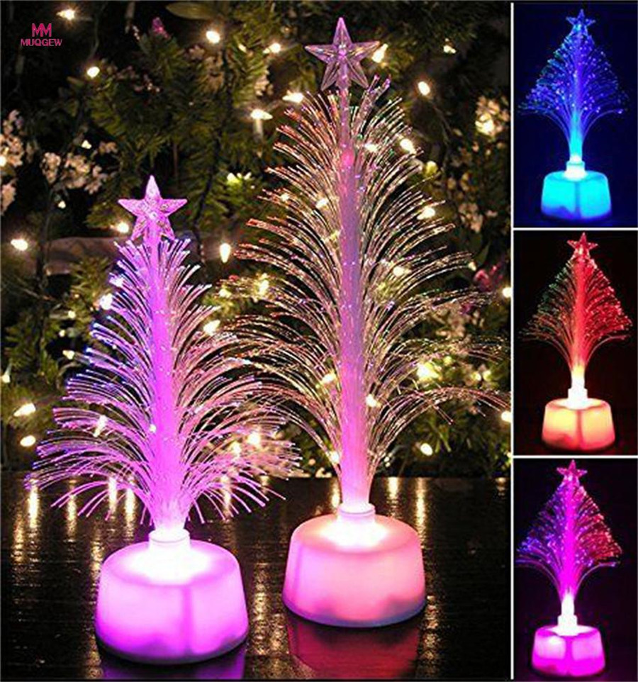 ISHOWTIEND 1PC 12cm *7cm Merry LED Color Changing Mini Christmas Xmas Tree Home Table Party Decor Charm LED Christmas Tree Light
