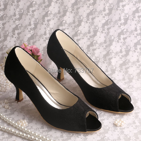 6 Colors New Design Med Heel Wedding Party Shoes Black Lace Open Toes Big Size