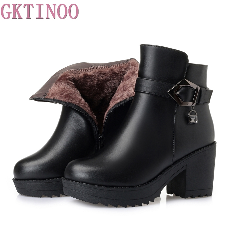 GKTINOO 2019 New Winter Warm Comfortable Plush Snow Boots Women Ankle Boots Thick Heel Real Leather Shoes Woman Fashion BootsGKTINOO 2019 New Winter Warm Comfortable Plush Snow Boots Women Ankle Boots Thick Heel Real Leather Shoes Woman Fashion Boots