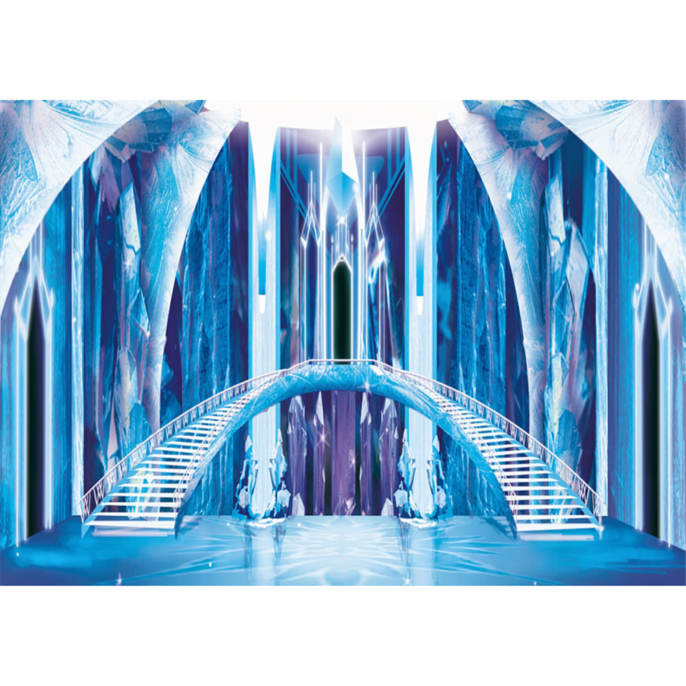 Blue Frozen Palace Princess Girl Backdrop Photography Stairs Ice Pillars Kids Children Birthday Party Photo Booth Backgrounds