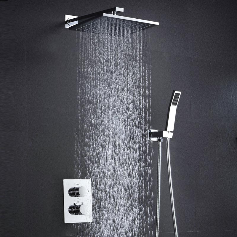 modern water saving shower head wall mounted air booster thermostat rain shower faucets brass. Black Bedroom Furniture Sets. Home Design Ideas