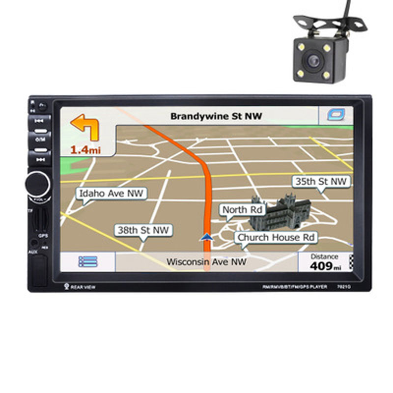 7021G Car MP5 Player 7'' HD 2 Din Touch Screen BT Mirror Link GPS Navigation FM/AUX-IN Audio Radio+RearView Camera with Map Card 4 3 wince 5 0 gps navigator rearview mirror w av in fm 2gb us canada mexico maps tf card